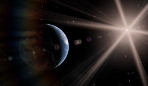 Erde mit Sonne im Blick