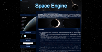 Screenshot der Webseite en.spaceengine.com